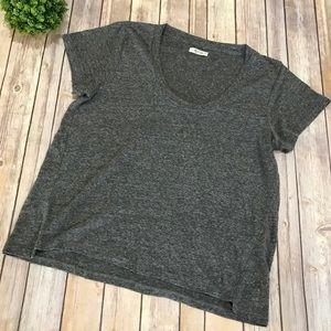 Madewell | Gray Scoop Neck Loose Fit Linen Tee XL